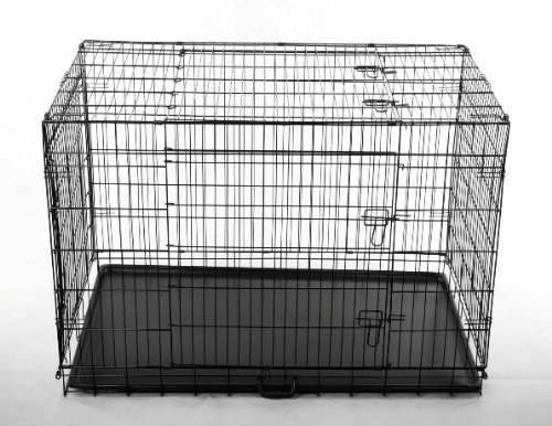 42 Quot 3 Door Metal Folding Dog Crate Kennel With Divider