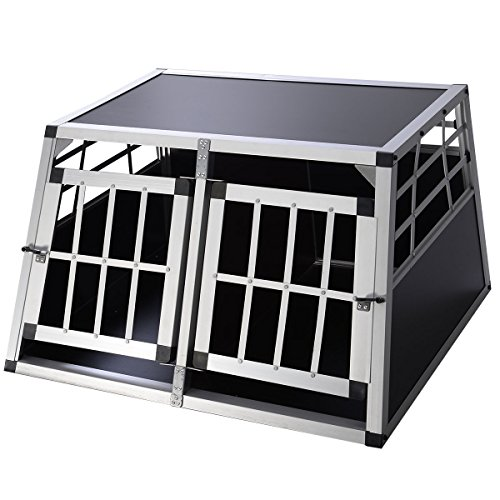 Giantex 2 Door Aluminum Dog Transport Box Dog Crate Kennel
