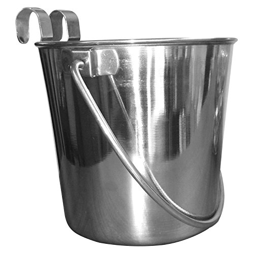 Qt Dog Flat Sided Stainless Steel Bucket With Hooks 1